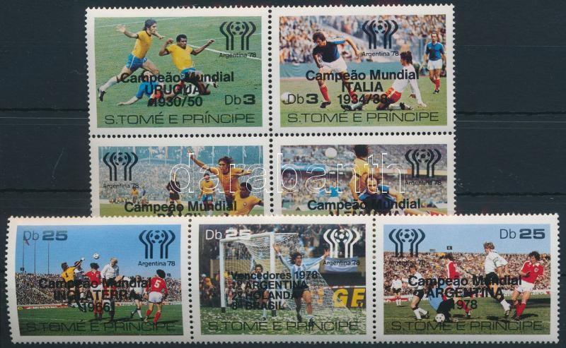Football World Cup overprinted set block of 4 and stripe of 3, Labdarúgó VB felülnyomott sor négyestömbben és hármascsíkban