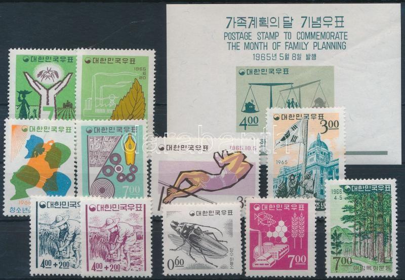 1965-1966 11 diff stamps + 1 block, 1965-1966 11 db klf bélyeg + 1 db blokk
