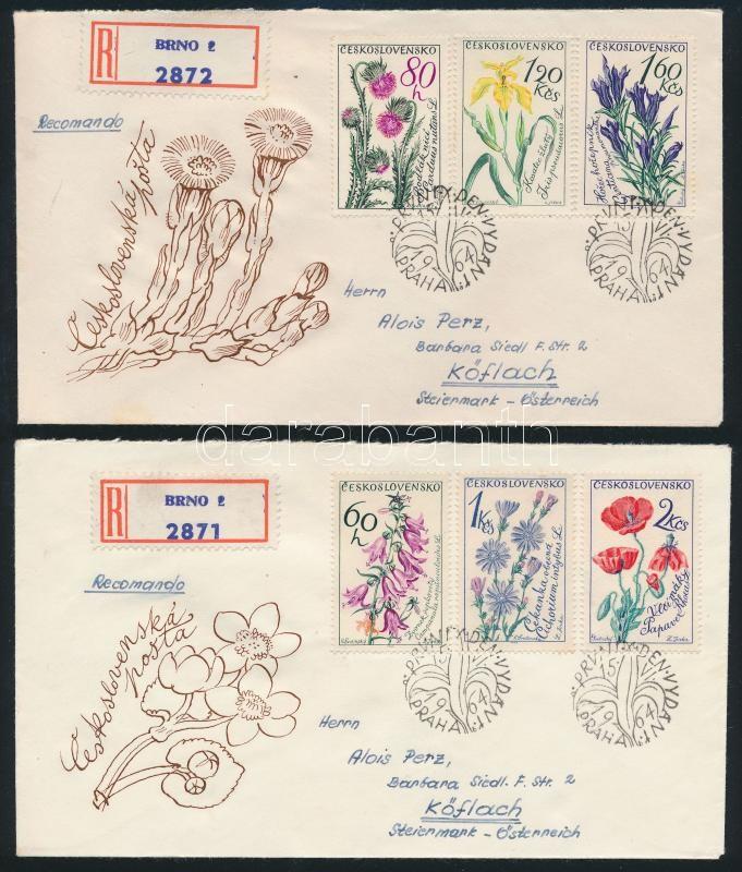 Flowers set on 2 registered cover, Virág sor 2 FDC ajánlott levélként futott