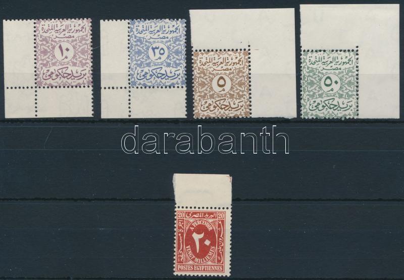 Postage due + 1958-1962 Official 4 diff stamps, Portó + 1958-1962 Hivatalos 4 klf érték