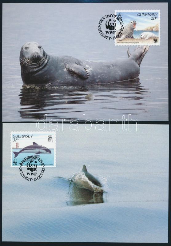 WWF: Marine wildlife set on 4 FDC + 4 CM, WWF: Tengeri élővilág sor 4 db FDC-n + 4 db CM-en