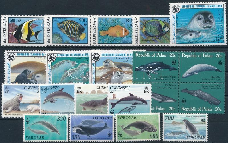 1983-1990 WWF: Sea animals 20 stamps (gum disturbance), 1983-1990 WWF: Tengeri állatok motívum 20 klf bélyeg, közte sorok (minden érték betapadt)