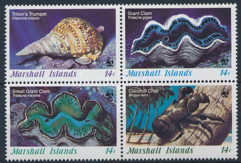 WWF: Marine animals block of 4 (gum distubance), WWF: Tengeri élőlények 4-es tömb (betapadás)