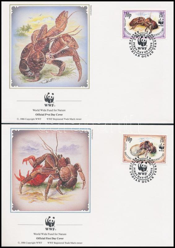WWF: Coconut crab set on 4 FDC, WWF: Pálmatolvaj sor 4 db FDC-n