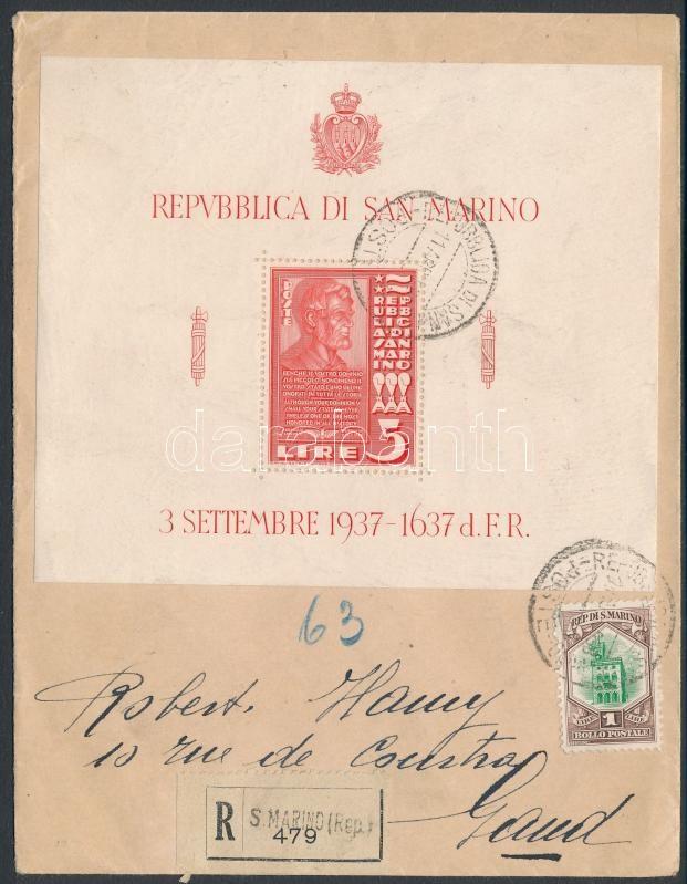 Mi block 3 on registered cover to Belgium, Ajánlott levél blokkal bérmentesítve Belgiumba