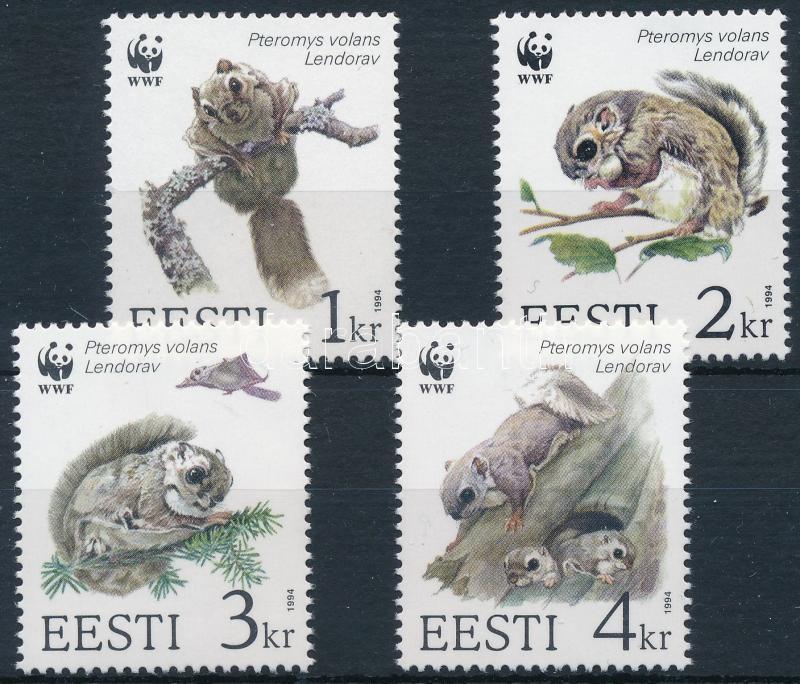 WWF Flying Squirrel set + 4 FDC + 4 CM, WWF Repülő mókus sor + 4 FDC + 4 CM