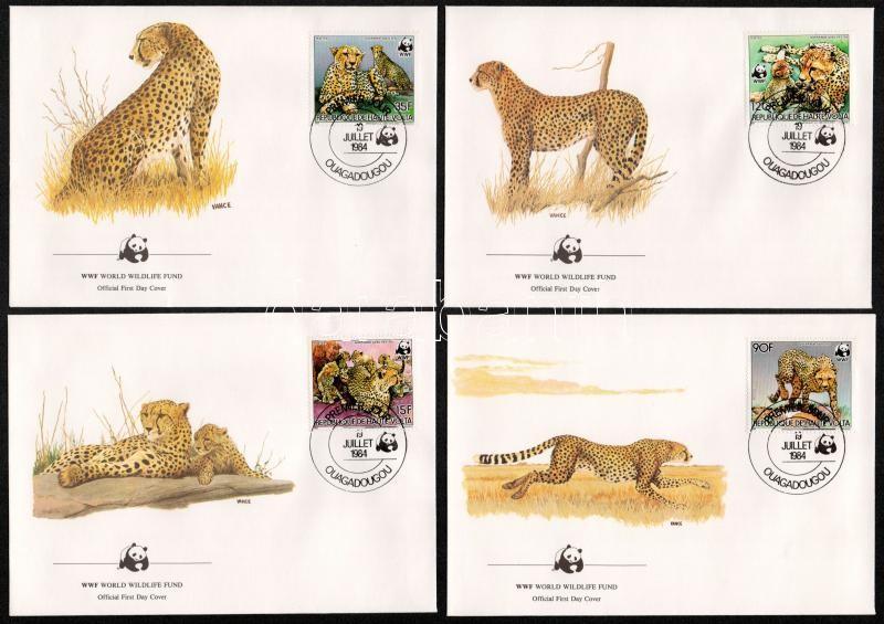 WWF Gepárd sor 4 db FDC-n, WWF Cheetah set on 4 FDC