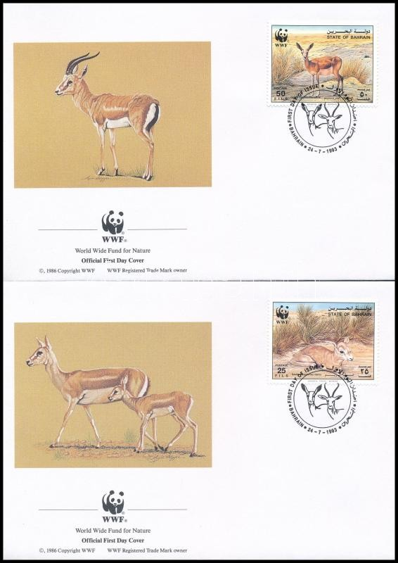 WWF: gazelle on 4 FDC, WWF; Gazellák 4 FDC