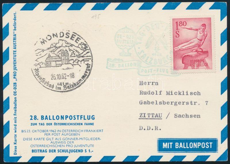 Austria Ballon flight postcard, Ausztria