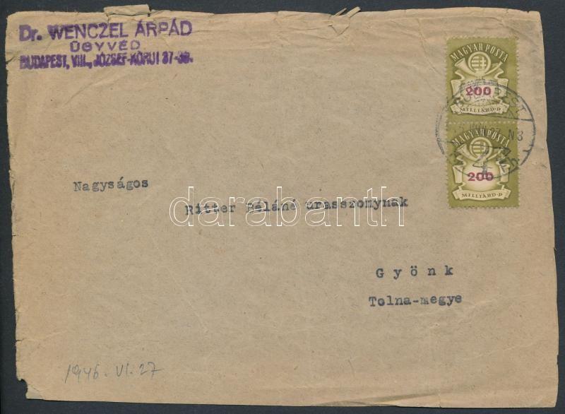 Inflation cover, (21. díjszabás) Távolsági levél Milliárdos 200mdP párral bérmentesítve