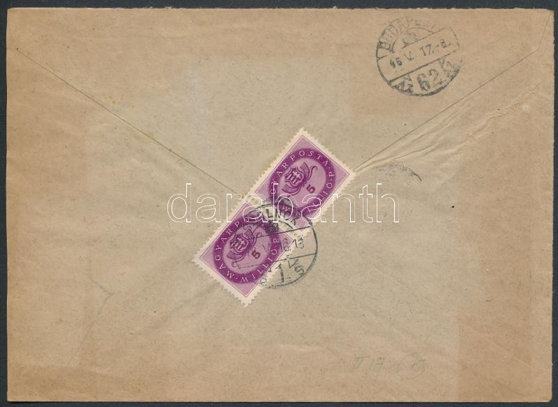 Inflation cover, (15. díjszabás) Távolsági levél  Milliós 2x5mP bérmentesítéssel
