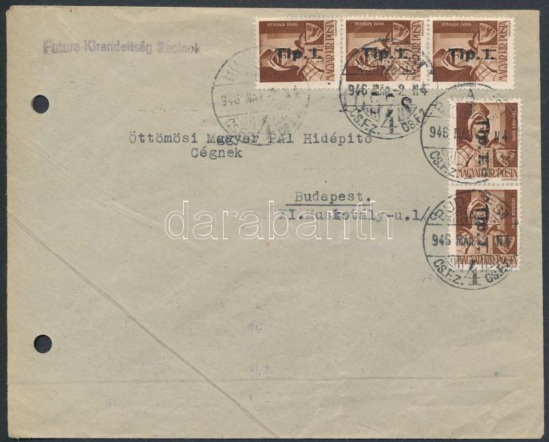 Inflation cover, (8. díjszabás) Távolsági levél Betűs II. 5xTlp.I./4f bérmentesítéssel (regiszter lyukasztással)