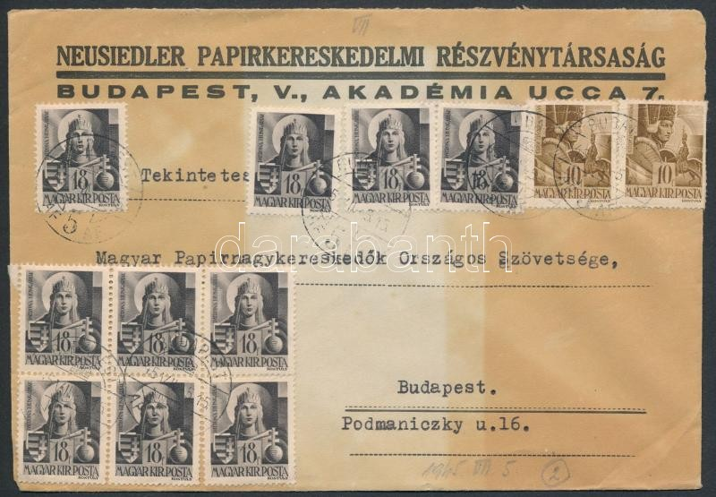 Inflation cover, (2. díjszabás) Helyi levél 12 db Hadvezérek bélyeggel bérmentesítve