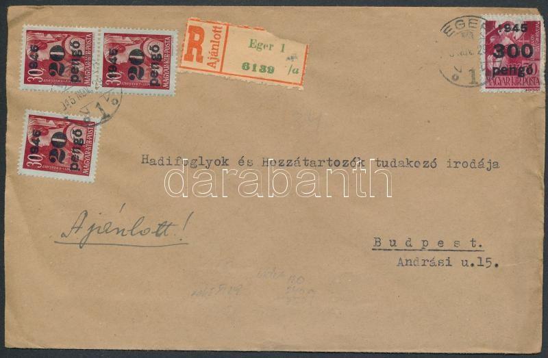 Inflation cover, (5. díjszabás) Ajánlott távolsági levél Kisegítő 3x20P/30f + 300P/30f bérmentesítéssel