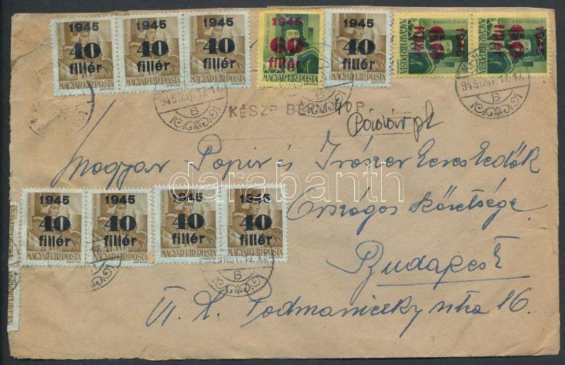 Inflation cover, (5. díjszabás) Távolsági levél 36 db Kisegítő bélyeggel (1 db hiányzik; össz: 1940f) + 40P készpénzzel tévesen a korábbi díjszabás szerint bérmentesítve