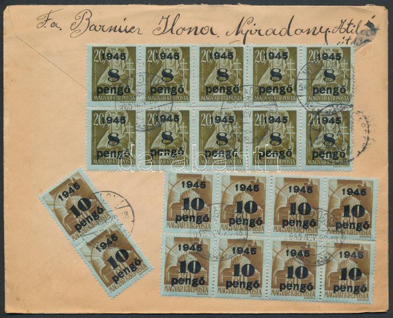 Inflation cover, (5. díjszabás) Ajánlott távolsági levél 20 db Kisegítő bélyeggel  tévesen a korábbi díjszabás szerint bérmentesítve, kisegítő szám bélyegzéssel, kézzel rajzolt ragjeggyel