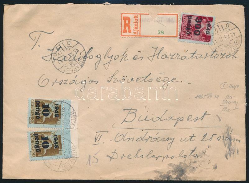 Inflation cover, (5. díjszabás) Ajánlott helyi levél Kisegítő 2x10P/80f + 300P/30f bérmentesítéssel, a ragjegyen a helységnév gumibélyegzővel van feltüntetve