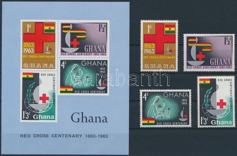100 éves a Nemzetközi Vöröskereszt sor + blokk, nternational Red Cross set + block