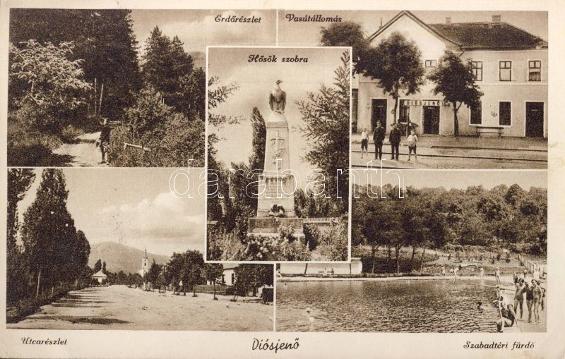 Diósjenő, vasútállomás, utca, szabadstrand, Hősök szobra