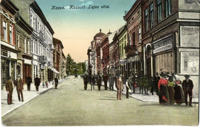 ca24c2f719 Kassa, Kosice; Kossuth Lajos utca, Heilman Henrik ékszeres, órás ...