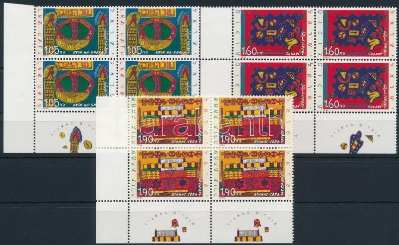 Paintings set in margin blocks of 4, Festményes sor ívszéli 4-es tömbökban, benne 2-2 tabos bélyeg