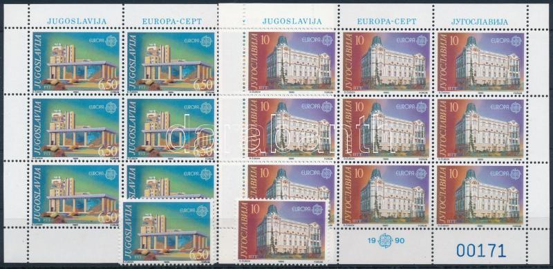 Europa CEPT: Postal buildings set + mini sheet set, Europa CEPT: Posta épületek sor + kisívsor