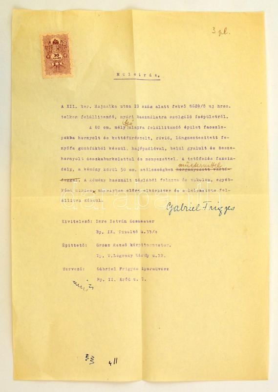 Gabriel Frigyes (1903-1906) belsőépítész által aláírt műleírás