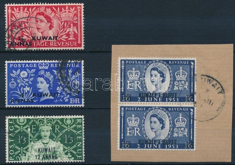 Queen Elizabeth set, closing value in pair on piece, Erzsébet királynő sor, a záróérték párban kivágáson