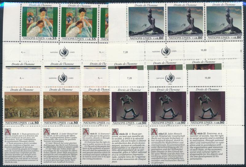 1989-1992 Declaration of Human Rights 3 diff sets in corner blocks of 6, 1989-1992 Emberi Jogok Nyilatkozata 3 klf sor ívsarki hatostömbökben
