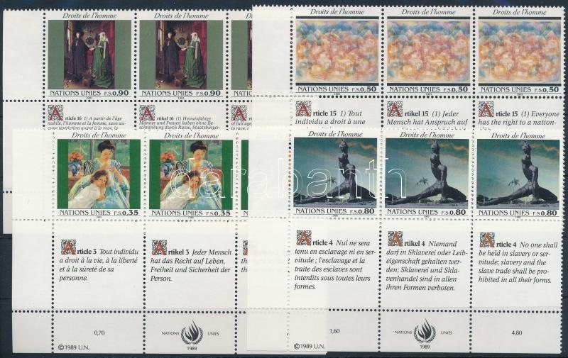 1989-1992 Declaration of Human Rights 2 diff sets in corner blocks of 6, 1989-1991 Emberi Jogok Nyilatkozata  2 klf sor ívsarki hatostömbökben