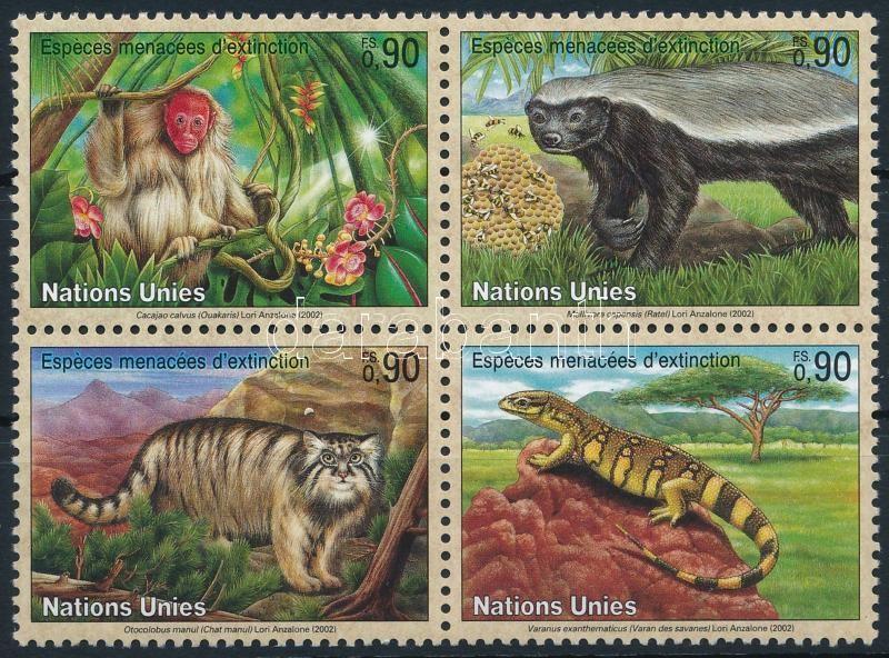 Endangered animals set block of 4, Veszélyeztetett állatok sor négyestömbben