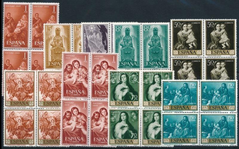 1956-1960 Madonna 9 blocks of 4, 1956-1960 Madonna motívum 9 klf 4-es tömb