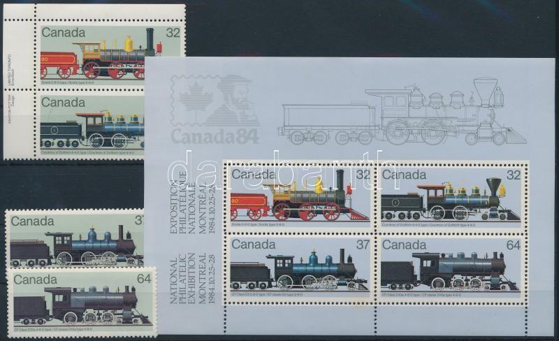 Locomotives set + block, Mozdony sor + blokk