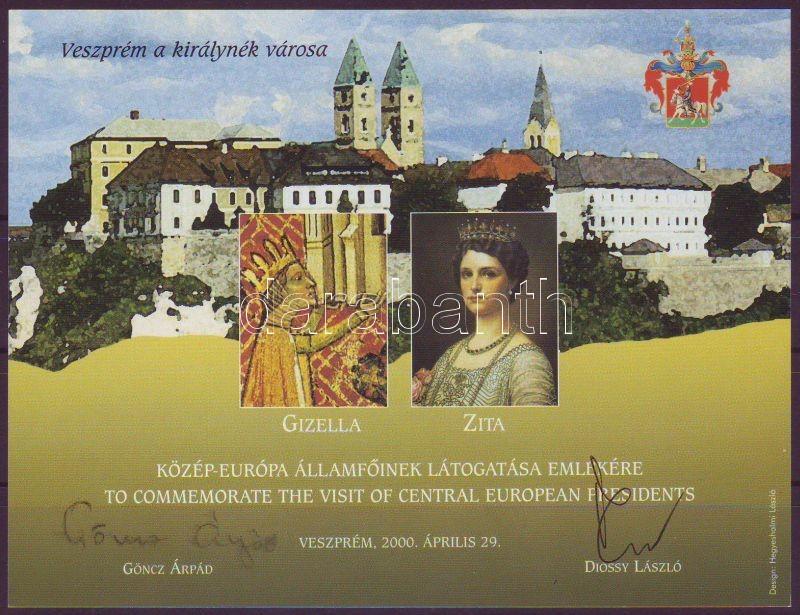 2000 Veszprémi neves napok közép-európai államfők látogatása ajándék emlékív 2000/111b Göncz Árpád és Dióssy László eredeti aláírásával