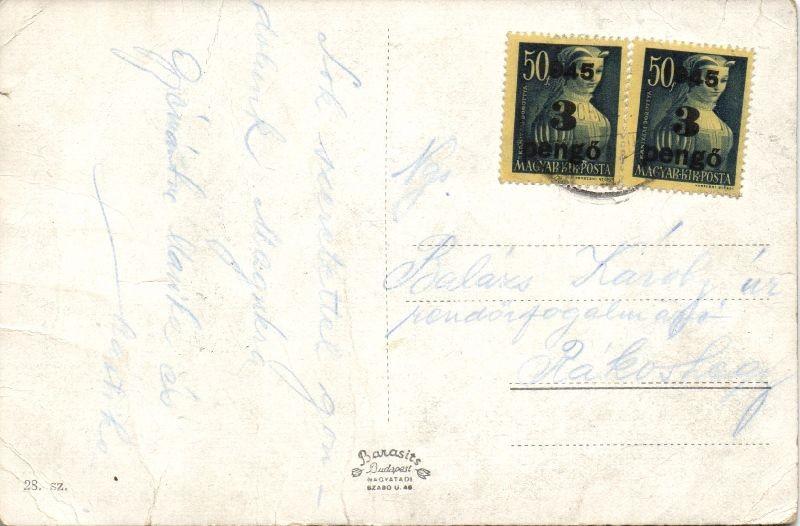(3. díjszabás) távolsági képeslap kisegítő 2x3P/50f bérmentesítéssel, Inflation postcard