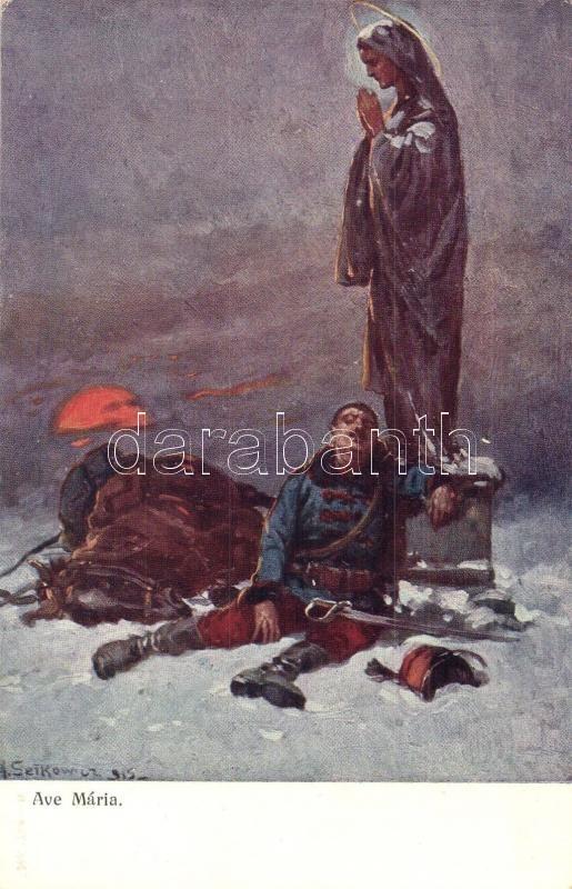 Ave Maria / WWI K.u.K. military art postcard. A.F.W. III/2. Nr. 756-6. s: Setkowicz, I. világháborús művészeti képeslap, K.u.K. hadsereg, A.F.W. III/2. Nr. 756-6. s: Setkowicz