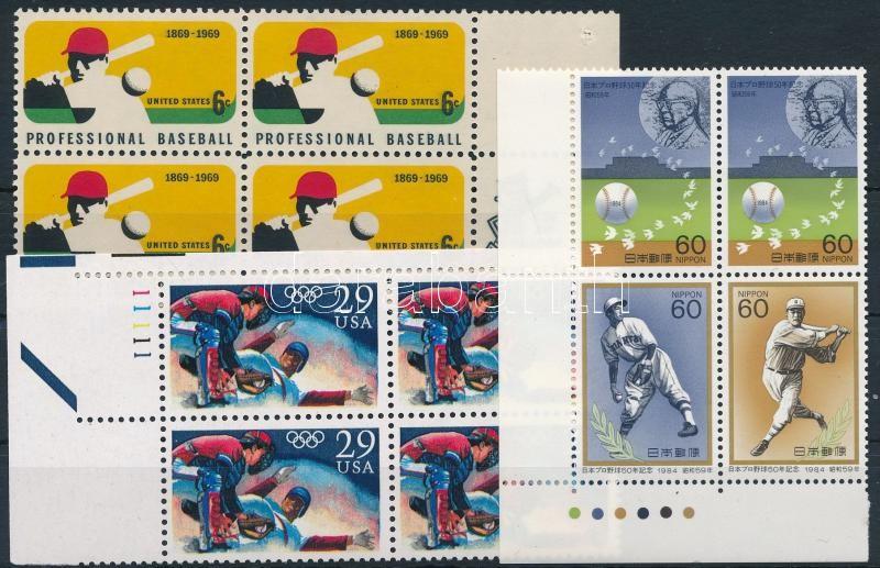 1969-1992 Baseball 2 margin + 1 corner block of 4, 1969-1992 Baseball 2 klf ívszéli + 1 ívsarki négyestömb