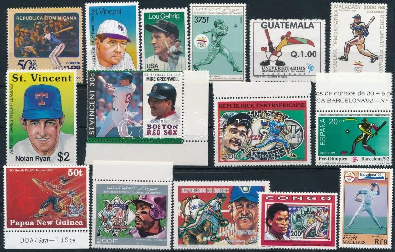 1989-1992 Baseball 15 stamps, 1989-1992 Baseball 15 klf bélyeg,közte ívszéli+ívsarki értékek