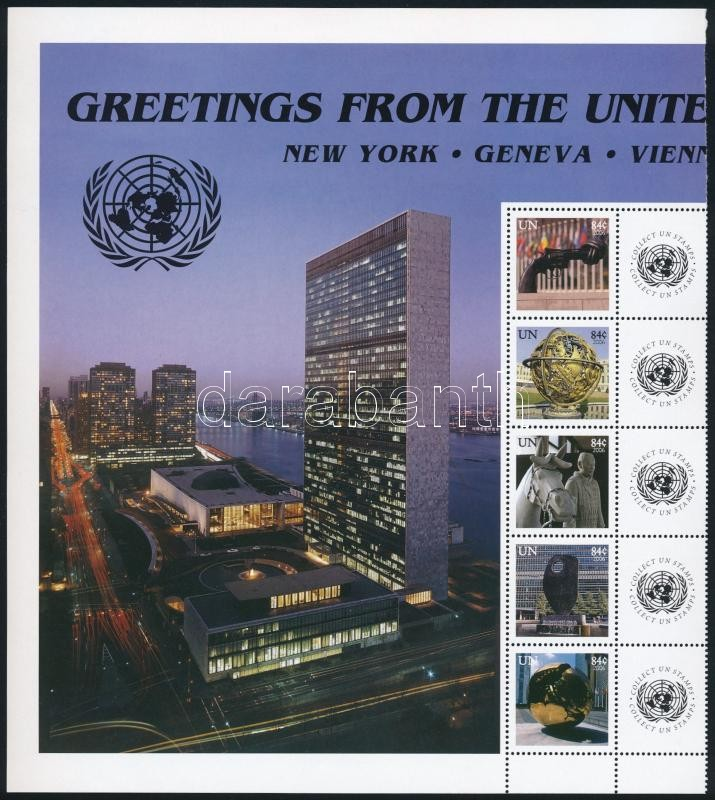 Greeting Stamps: Statues set stripe of 5 with coupon, Üdvözlőbélyeg: szobrok sor szelvényes ötöscsíkban
