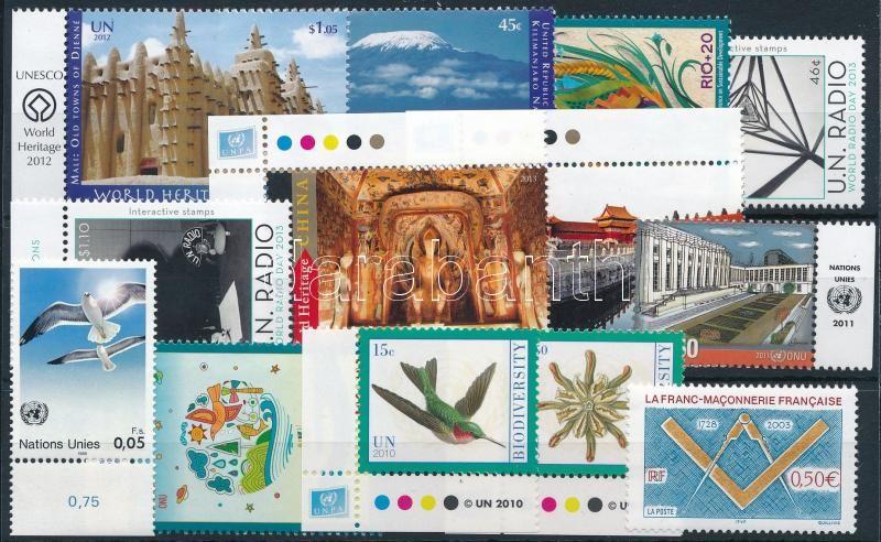 Geneva, New York 1986-2012 3 sets + 6 stamps, Genf, New York 1986-2012 3 klf sor + 6 klf önálló érték