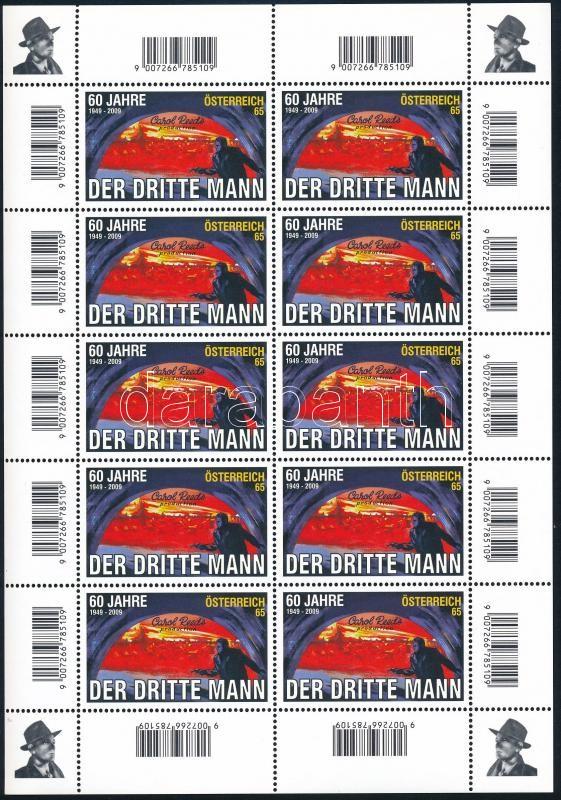 """,,Der dritte Mann"""" mini sheet, 60 éves a ,,Der dritte Mann"""" c. film kisív"""