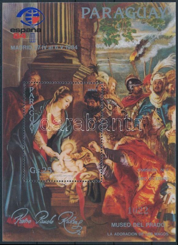 Rubens paintings; stamp exhibition overprint block, Rubens festmények; bélyegkiállítás felülnyomott blokk