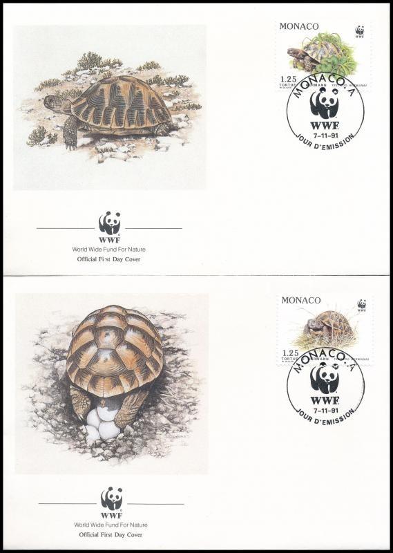 WWF Greek turtle set 4 FDC, WWF: Görög teknős sor 4 db FDC