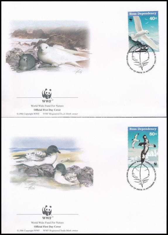 WWF Seabirds set on 4 FDC, WWF: Tengeri madarak sor 4 db FDC