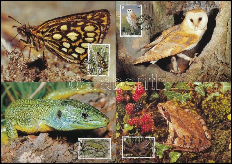 WWF Rare animal species set on 4 FDC, WWF: Ritka állatfajták sor  4 FDC-n