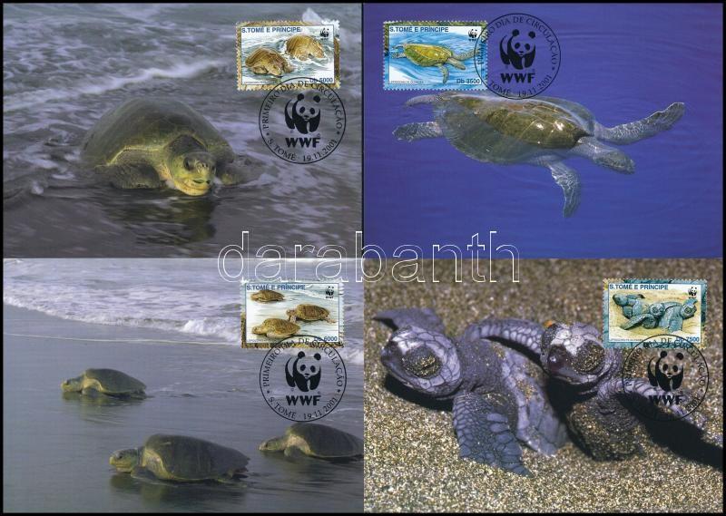 WWF Ridley sea turtle set on 4 CM, WWF Fattyúteknős sor 4 db CM-en