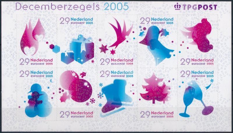 December stamps self-adhesive mini sheet, Decemberi bélyegek öntapadós kisív