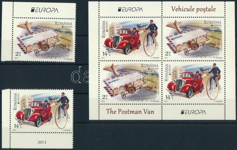 Europe Cept Postal vehicles set + block, Europa CEPT Postai járművek sor + blokk