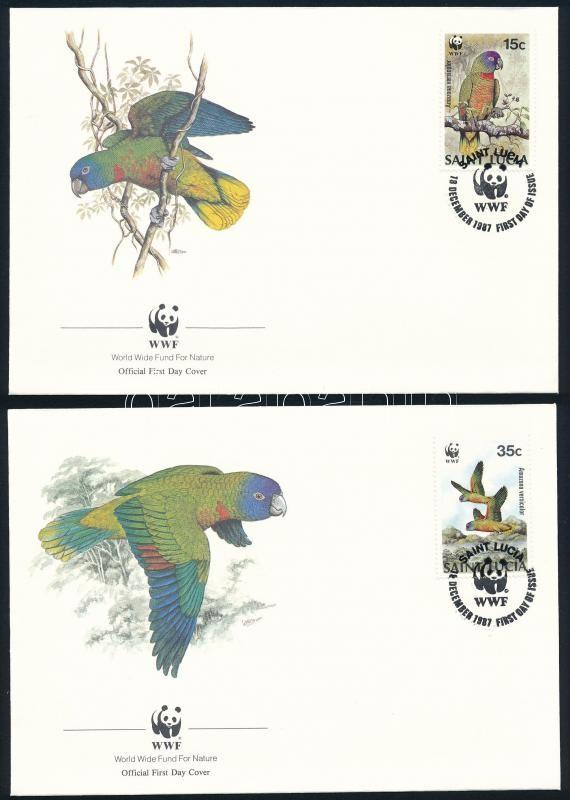 WWF: Papagáj sor 4 db FDC-n, WWF Parrot set on 4 FDC