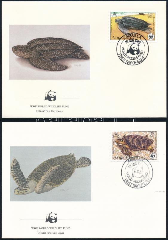WWF: Turtles set on 4 FDC, WWF: Teknősök sor 4 db FDC-n